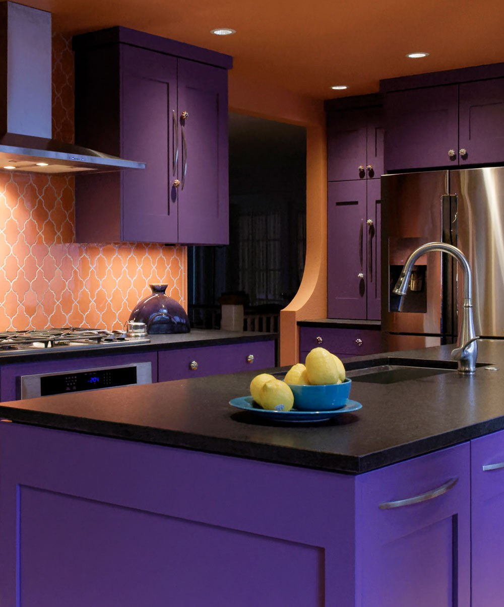 Kitchen Remodel Design with Purple Cabinets and Black Countertop