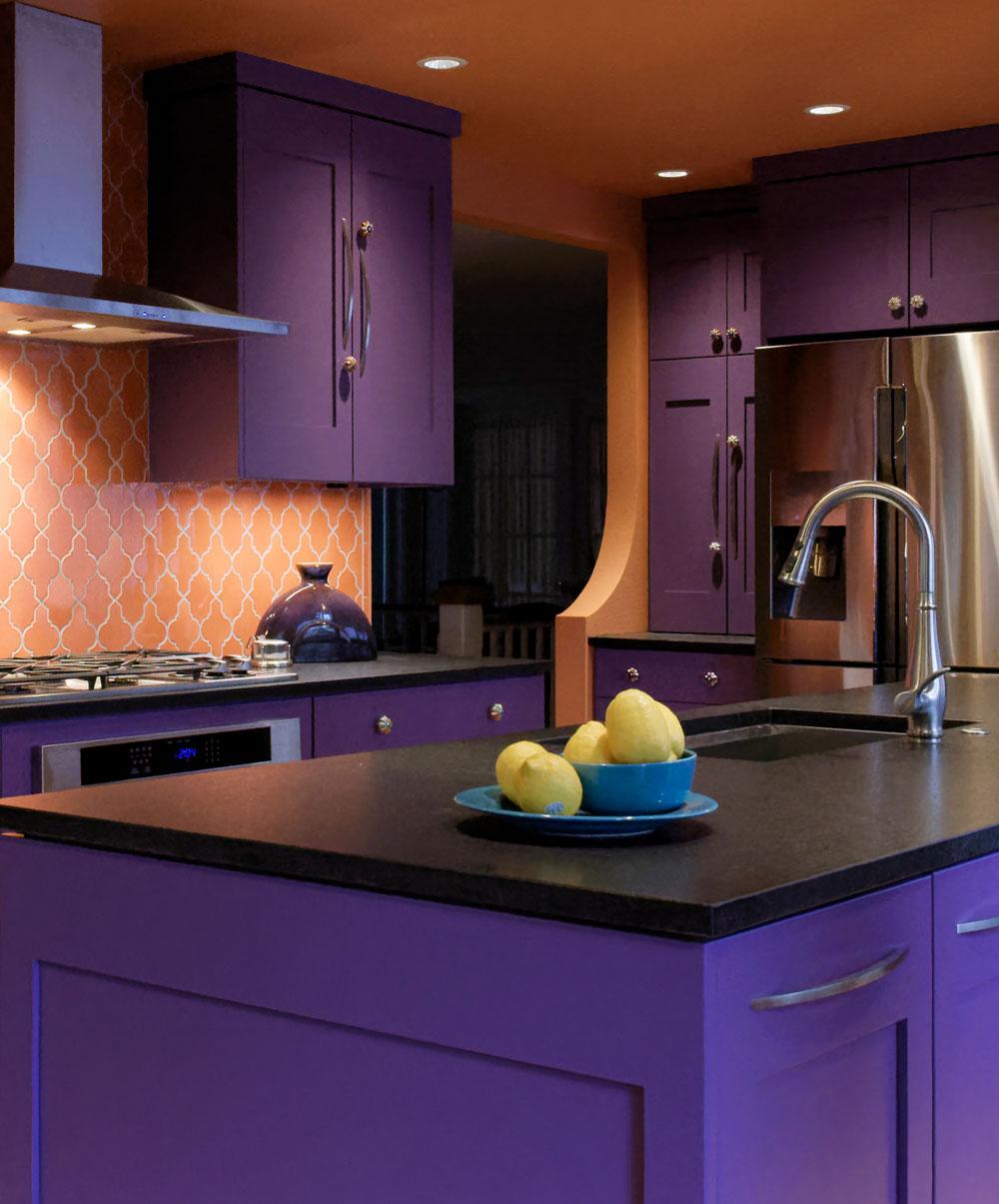 Home Remodel Unique Purple Cabinet Design