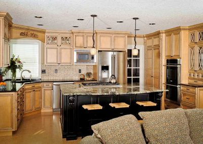 Traditional Kitchen with Open Concept and Fancy Wood-Carved Details