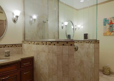 Walk-in Shower in Luxury Master Bath with Beige Tile