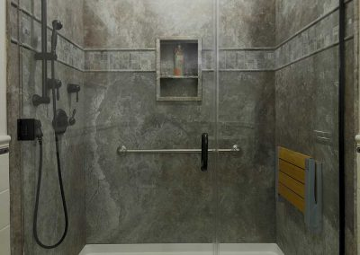 Universal Design Bathroom with Gray Walls and Shower Nook