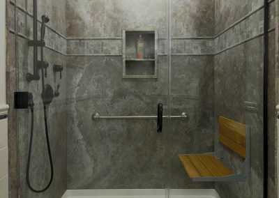 Shower Remodel with Gray Colors Shower Nook and Shower Bench