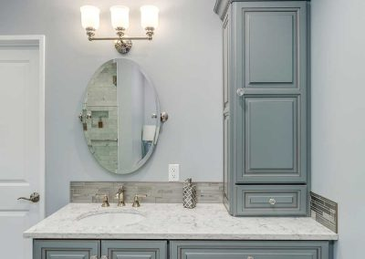 Classical Vanity Mirror and Sink with Teal Cabinets