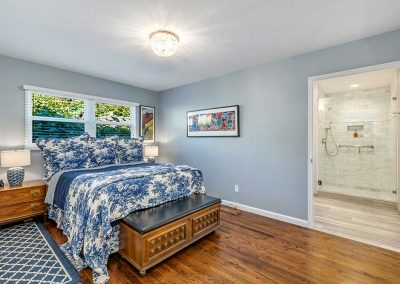 Master Suite Remodel with Hardwood Floors and Blue Interior Design in Portland