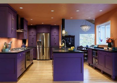 Kitchen Remodel with Purple and Orange Colors