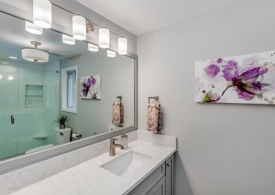 Master Bathroom Remodel with Large Mirror Gray Color Palette