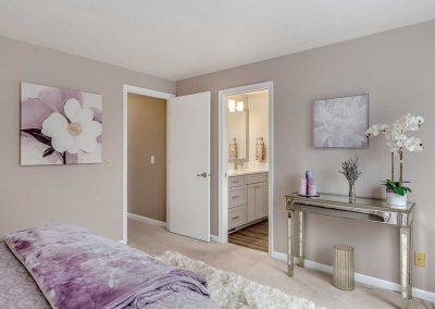 Master Bedroom Remodel with En Suite Bath and Beige and Lavender Color Scheme