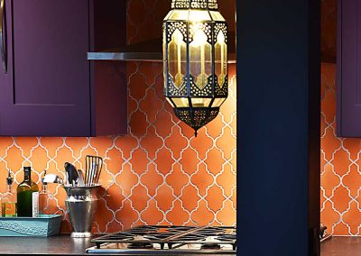 Turkish Lamp Pendant with Orange Arabesque Backsplash