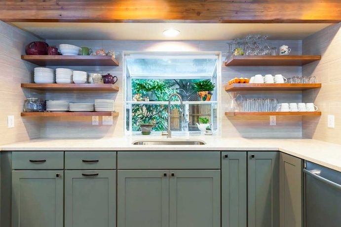 Kitchen Remodel with Open Shelving White Countertops and Cyan Cabinets