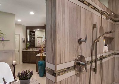 Master Shower Remodel with Tile and Walk in Shower