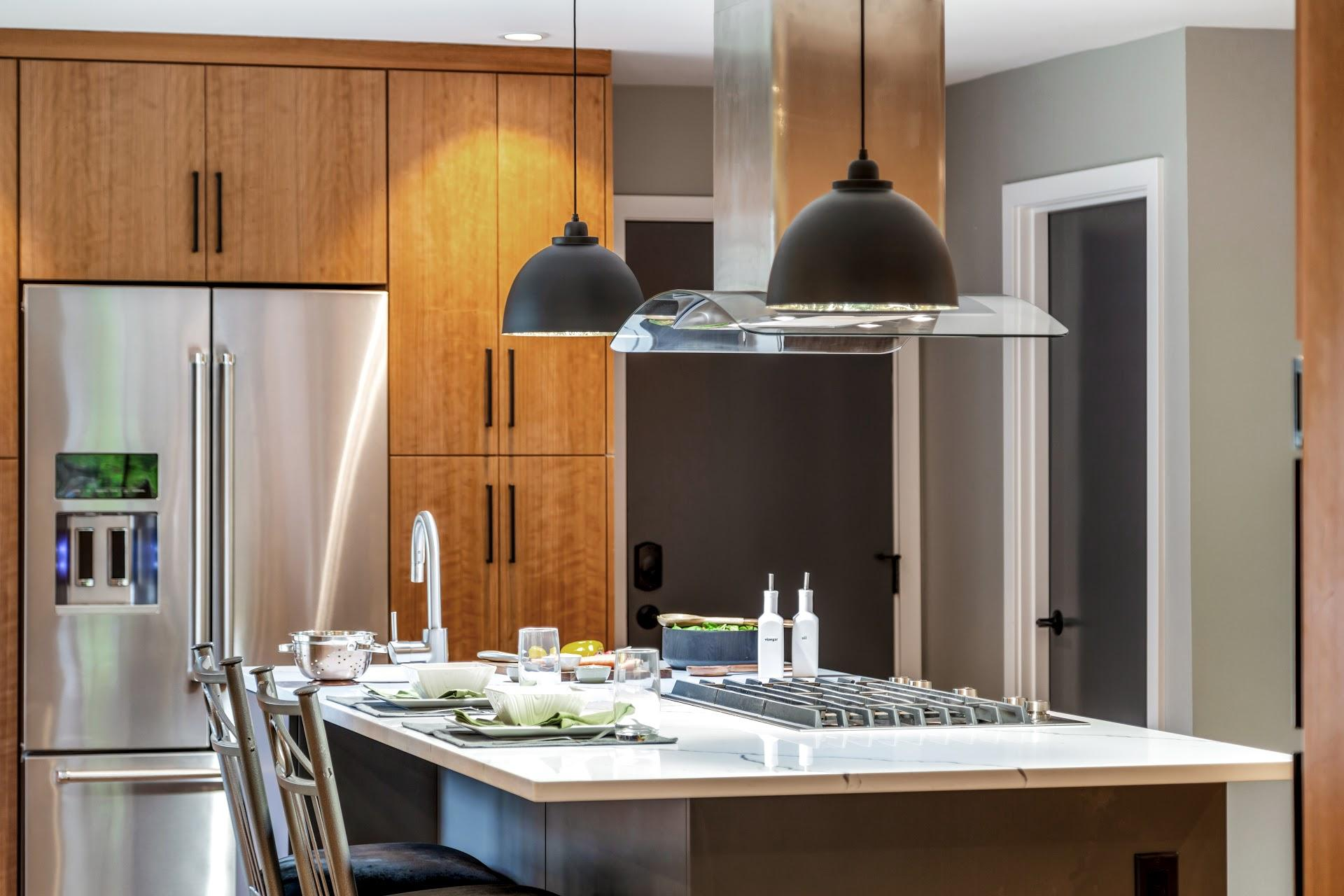 Stunning Kitchen Remodel with Island Stove Sink and High-Top Chairs