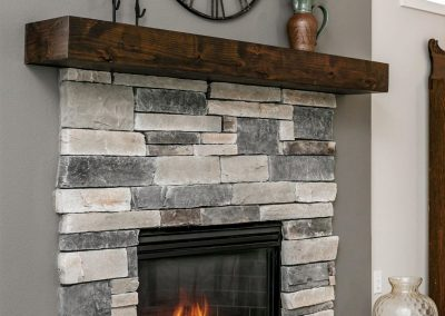 Portland Modern Farmhouse Stone Fireplace with Hardwood Mantel