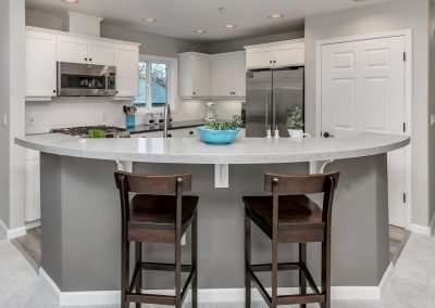 Portland Modern Farmhouse Kitchen with Curved Island Countertop