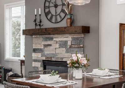 Modern Farmhouse Dining Room with Fireplace Remodel in Portland