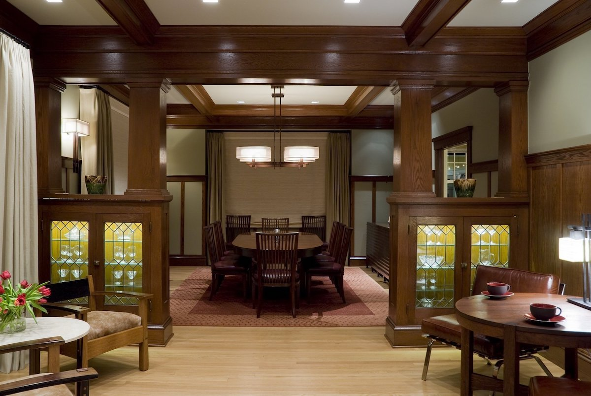 Craftsman Style House with Dividing Built Ins and Wood Flooring