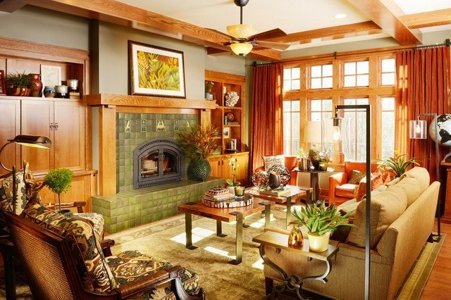 Craftsman Living Room with Woodwork and Lighting in Portland