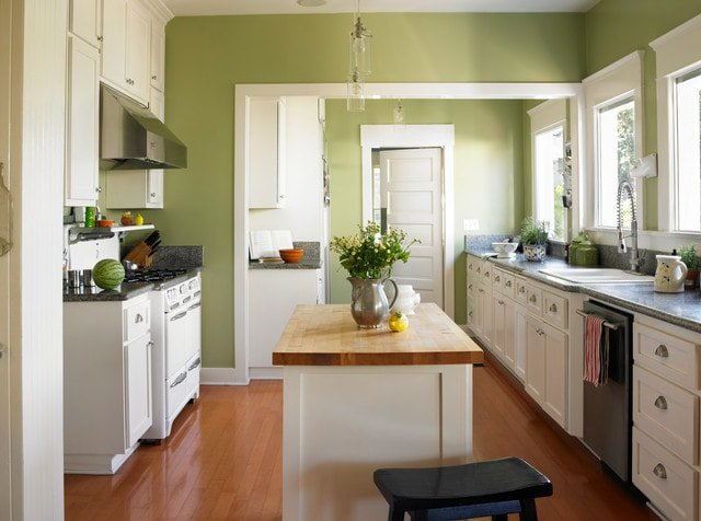 Craftsman Style Kitchen with Wood Flooring