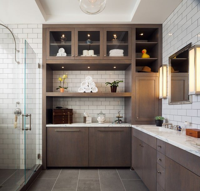 Modern Bathroom with Subway Wall Tile Design