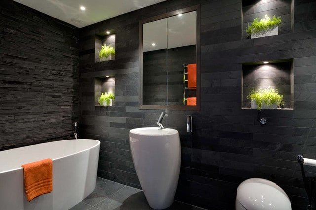 Master Bathroom with Dark Calming Colors